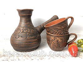 Турка з глини ручної роботи і 2 кавові чашки