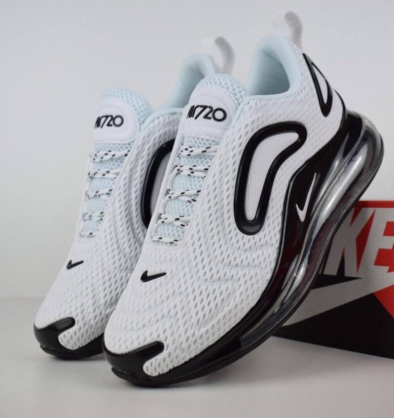 f0d77574 Мужские кроссовки Nike Air Max 720 белые с черным. Живое фото. Топ реплика