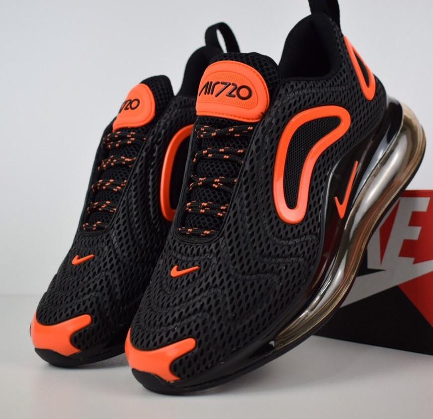 1a6d799412b976 Мужские кроссовки Nike Air Max 720 черные с оранжевым. Живое фото. Топ  реплика -