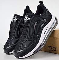Женские кроссовки в стиле Nike Air Max 720 черные с белым. Живое фото