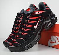Женские кроссовки в стиле Nike AIr Max Tn+ plus черные с красным. Живое фото