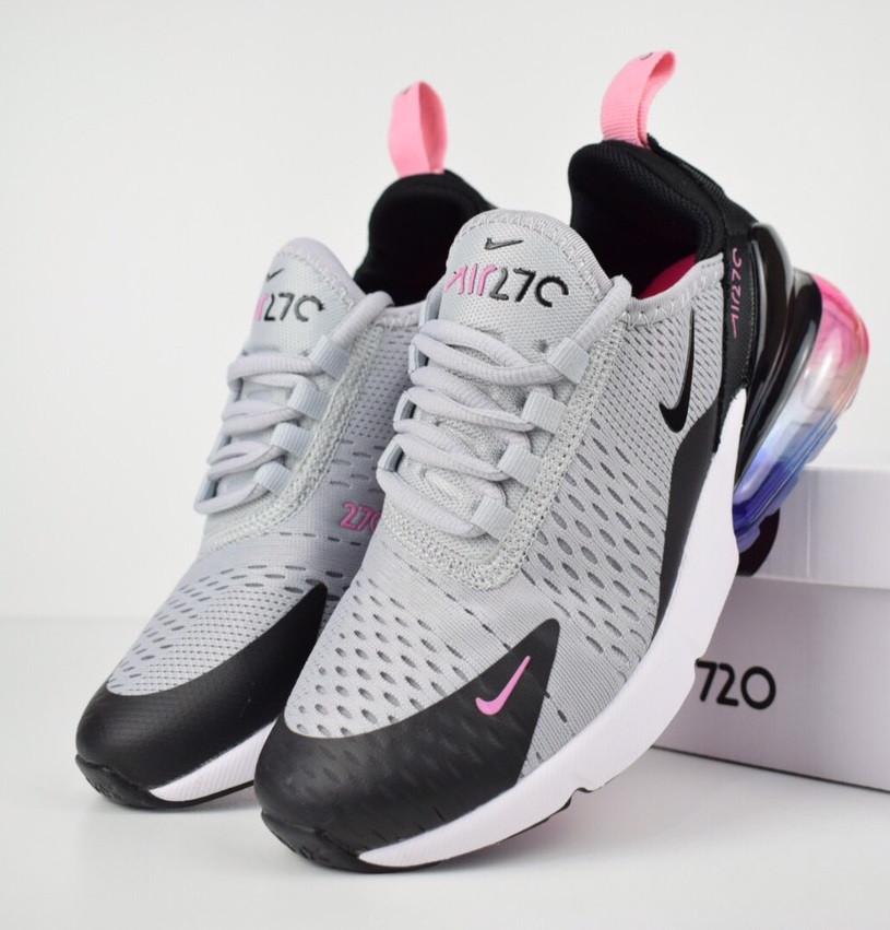 843518d1 Женские кроссовки в стиле Nike Air Max 270 серые с черным. Живое фото