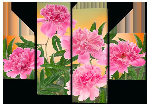 Модульная картина Interno Эко кожа Пионы 126x93см (A405М)
