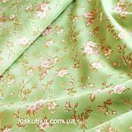 38016 Утомленный цвет (зеленый). Ткани в стиле шебби. Подойдет для декора, для поделок и шитья летнего платья., фото 2