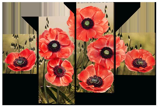 Модульная картина Interno Эко кожа Маки полевые 166х114см (A407XL)
