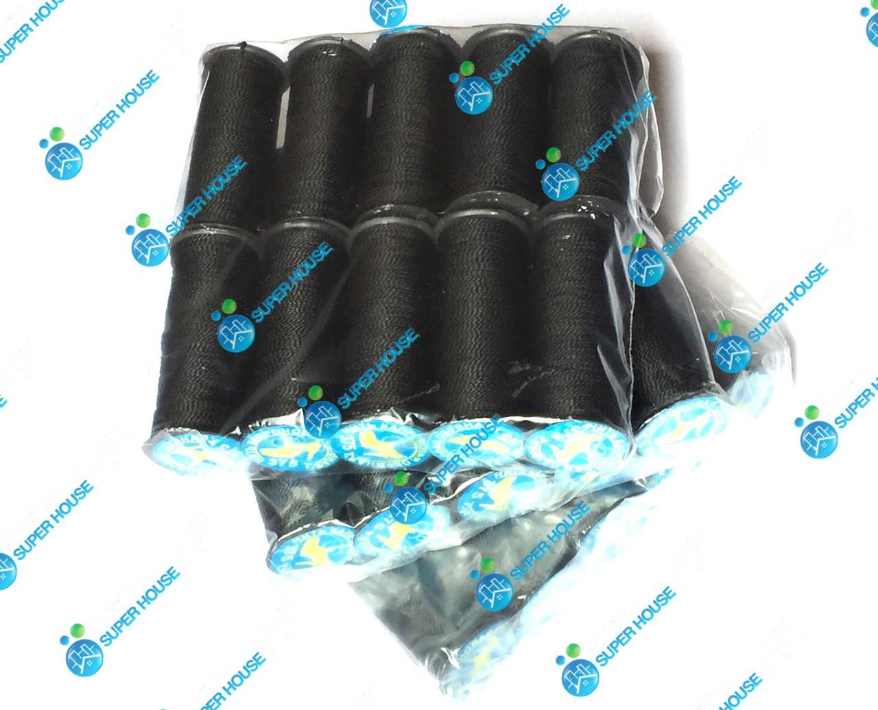 Нить обувная 375 текс 100% полипропилен. 10 катушек в 1 упаковке. Черная.
