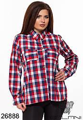 Рубашка женская в клетку коттон Большого размера красный