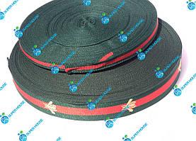 Тесьма брючна, сумочная стрічка Gucci. Ширина 10мм, довжина 50м. Червоний+Зелений
