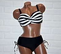 Купальник большой размер 50, полосатый женский, черно-белые полоски