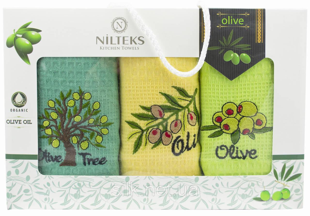 """Набір вафельних рушників для кухні """"Olive Tree"""", 3 шт., 40х60 см (Туреччина)"""