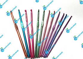 Набор алюминиевых крючков для вязания. 12 шт (Размеры от 2.0мм до 5.5мм)