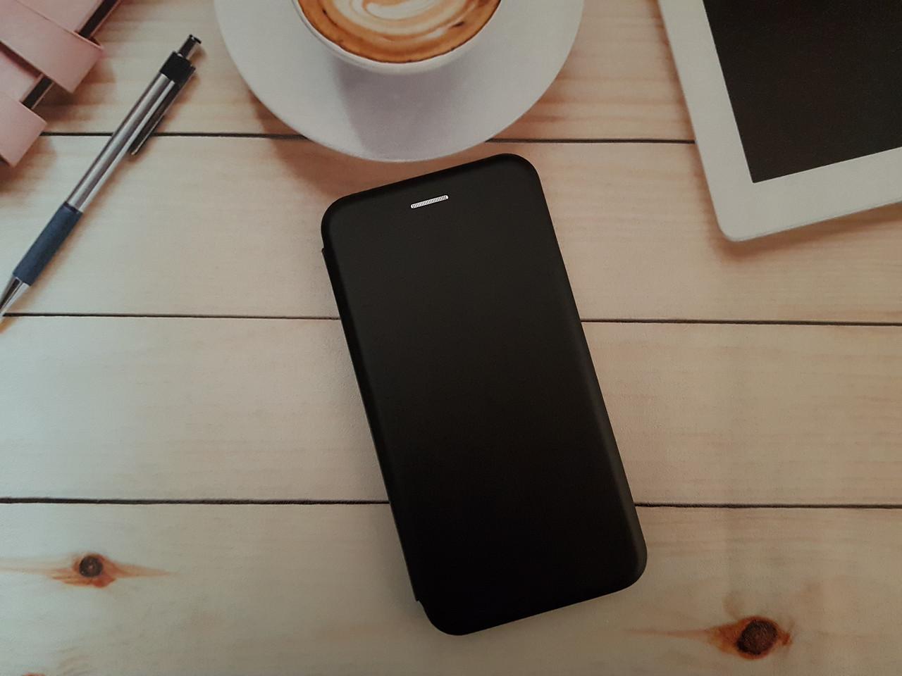 Чохол-книжка для Huawei P Smart plus Premium Leather (екошкіра + силікон) чорний