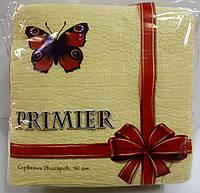 Салфетка бумажная премьер 33*33 50л желтая