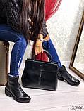 Черевики жіночі демісезонні шкіряні чорні з блискавкою, фото 3
