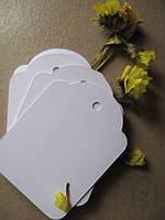 Теги-заготовки белые маленькие, 10 шт, 5,2х3,8 см, 200г / м2, LL018