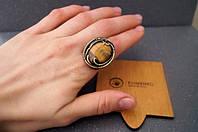 Авторский перстень из латуни с природным тигровым глазом