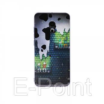 """Тонкий силиконовый чехол """"Граффити"""" с прозрачными краями для Meizu Pro 6"""