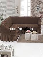 Универсальный чехол на угловой диван коричневый