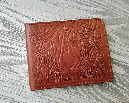 Портмоне мужское коричневое со львом, фото 2