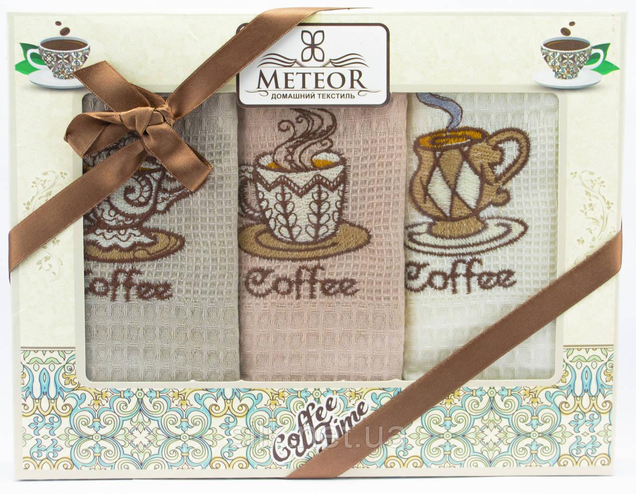 """Набір вафельних рушників для кухні """"Coffee"""", 3 шт., 40х60 см (Туреччина)"""