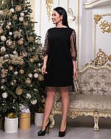 Черное вечернее платье с сеткой в горошек, фото 1