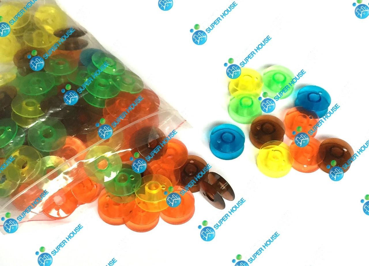 Шпульки пластиковые для бытовых швейных машин 20мм, 100 шт в упаковке. Разные цвета