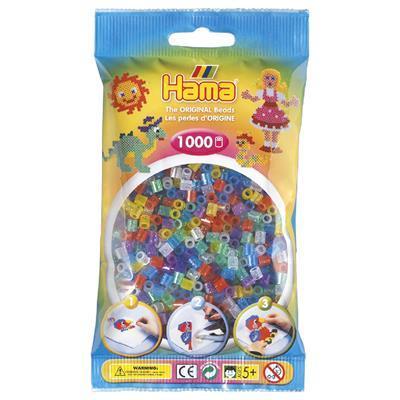 Термомозаика HAMA Набор цветных бусин 1000 шт 6 полупрозрачных цветов  с блестками 207-54