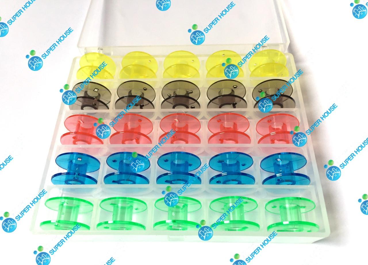 Шпульки для бытовых швейных машин 20мм пластик, 25 шт в боксе. 5 цветов