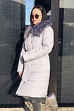 Женская  куртка-плащевка с меховым воротником серая, черная., фото 2