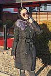 Женская  куртка-плащевка с меховым воротником серая, черная., фото 4