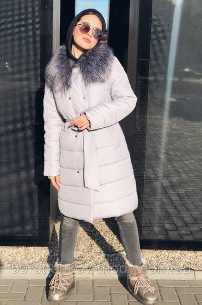 Женская  куртка-плащевка с меховым воротником серая, черная.