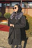 Женская  куртка-плащевка с меховым воротником серая, черная., фото 5