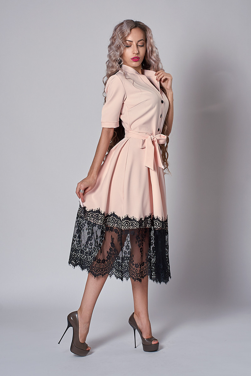 Нарядное женское платье с кружевом (3 цвета)