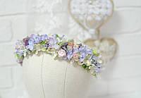 Обруч с мелкими цветками сирени с бусинами, фото 1