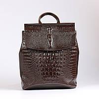 """Кожаный рюкзак-сумка (трансформер) с тиснением коричневый """"Крокодил Brown"""""""