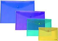 Папка на кнопці A5+ E31316, глянець прозорий конверт, 180мкм Economix мікс уп12 ящ192