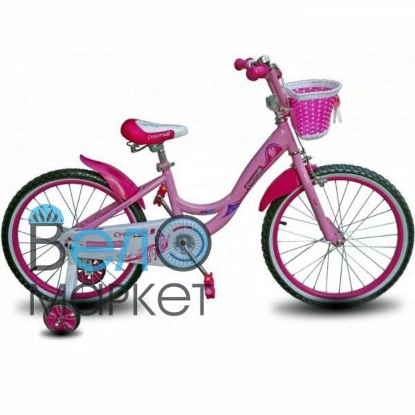 "Велосипед дитячий Crossride Vogue and classic 20"" рожевий з кошиком"