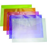 Папка на кнопці A4+ E38301 конверт, кольоровий - прозорий глянець 120мкм асорті уп12