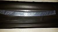 Накладка на задний бампер Volkswagen Polo c 2010> нержавейка с надписью