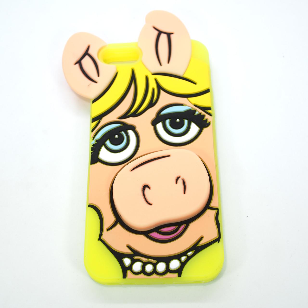 Silicon Moschino iPhone 5s SE Pig yellow Apple Для телефона Чехол