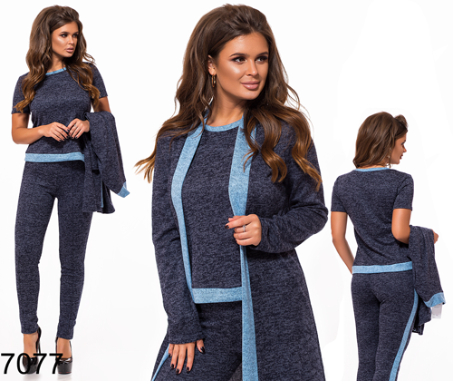 b265eb607e4 Стильный брючный костюм тройка (синий) 827077 купить в Украине ...