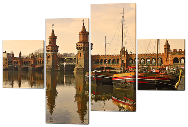 Модульная картина Interno Эко кожа Мост в Берлине 146х100см (А421L)