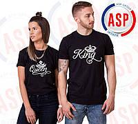 Парные футболки с надписью King Queen и короной спереди белого цвета печати под заказ