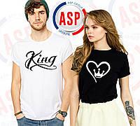 Парные футболки с надписью King Queen и короной в виде сердца печати под заказ