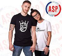 Парные футболки с надписью King Queen Princess c короной под заказ