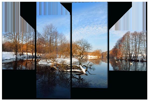Модульная картина Interno Эко кожа Весенний пейзаж 146x108см (A435L)