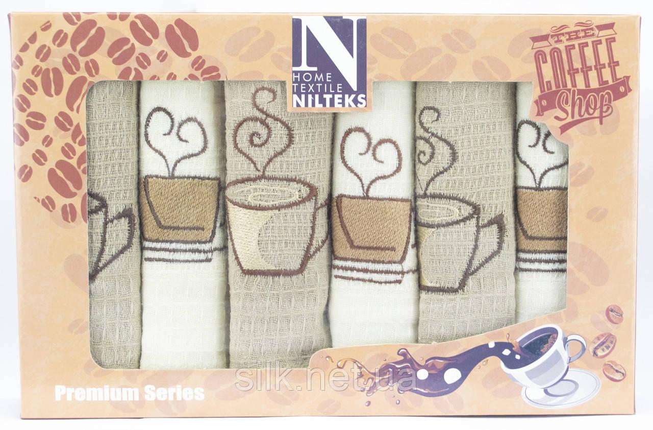 """Набір вафельних рушників для кухні """"Coffee Shop"""", 6 шт., 50х70 см (Туреччина)"""
