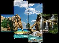 Модульная картина Interno Эко кожа Экзотическая бухта 126x93см (A438М)