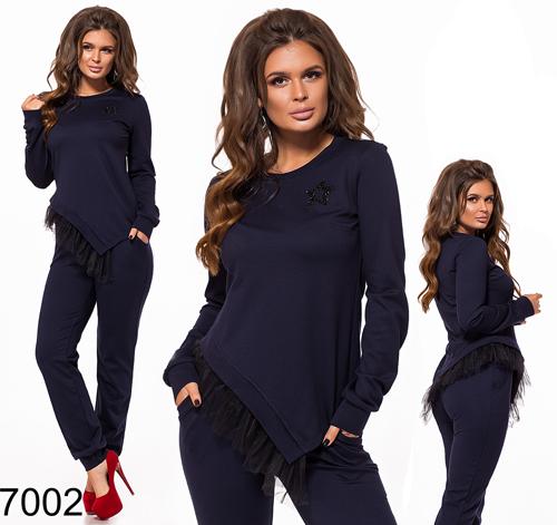 Модный костюм брюки с кофтой из трикотажа (темно-синий) 827002