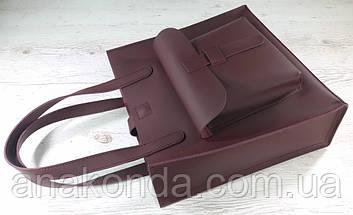 162 Сумка женская натуральная кожа, марсала ультраматовая, бордовая вишневая формат А-4 +, фото 2